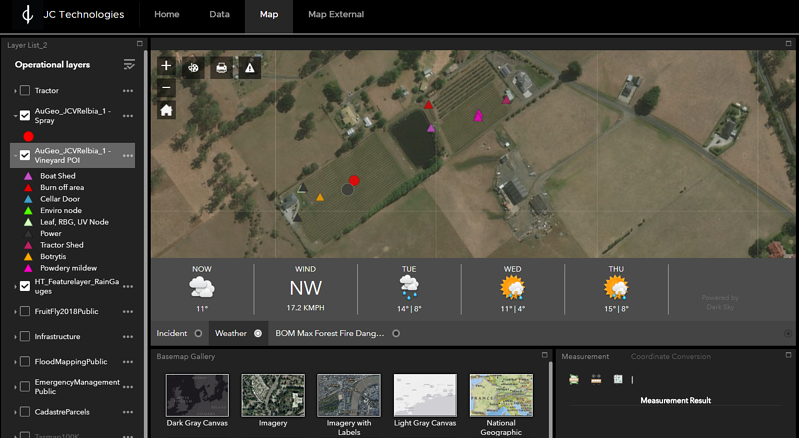 iot weather dashboard for the smart winery